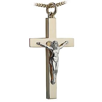 9ct Gold 40x25mm solid block Yellow Cross and White Crucifix with a curb Chain 24 inches