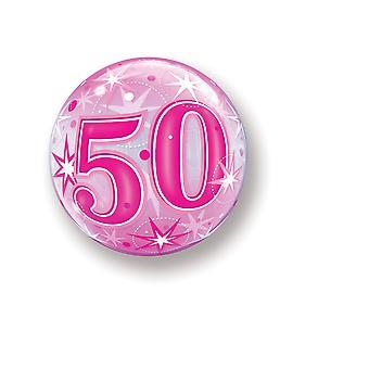 Ballon Bubbel Kugel Zahl 50 Geburtstag rosa Sterne circa 55cm