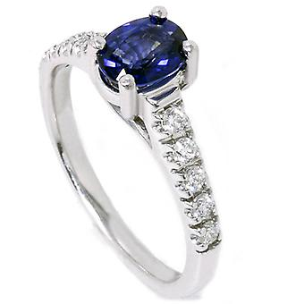 7 / 8ct blu zaffiro Accent Diamond Ring 14k oro bianco