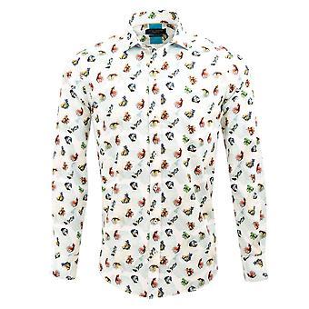 Guia Londres algodão branco Sateen frutos da mar Mens camisa com um fundo de algas