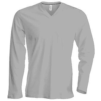 Kariban Mens Slim Fit camiseta de algodão manga longa V pescoço liso cores