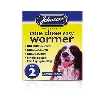 Johnsons één dosis gemakkelijk Wormer Tablet voor middelgrote hond (t/m 20 kg)