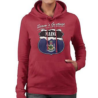 Seasons Greetings Maine State Flag Christmas Women's Hooded Sweatshirt