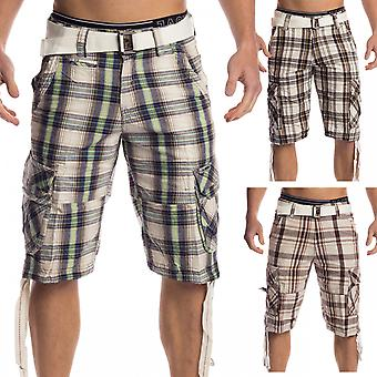Plaid Men Shorts Cargo Bermudas shorts stretch Vintage checkered