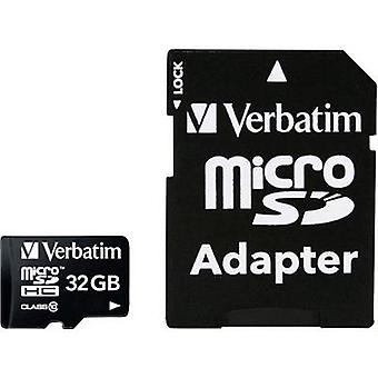 Verbatim MICRO SDHC 32GB CL 10 ADAP microSDHC kaart 32 GB klasse 10 incl. SD adapter