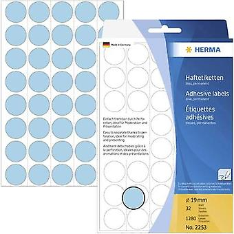 Herma 2253 Sticky dots Ø 19 mm Blue 1280 pc(s) Permanent adhesive Paper