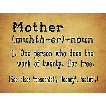 Äiti sanakirjan määritelmän hauska pieni metallinen allekirjoittaa 200 Mm X 150 Mm