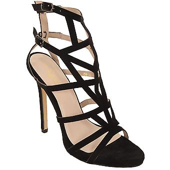 Ladies Faux Suede Cut Out Caged Sandals Peep Toe Gladiator Stiletto High Heels