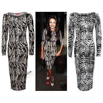 Новые дамы Celeb племенных зебра печати полная длина Bodycon женщин платье