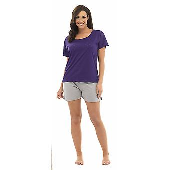 Ladies Tom Franks Star Burnout T-Shirt Top & Shorts Pyjama Set Lounge Wear 8-10 Purple Top