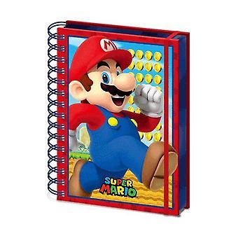 Super Mario Notizbuch DIN A5 Mario 3D Lentikulardruck Hardcover mit Spiralbindung, 180 Seiten liniert, mit Gummiband.