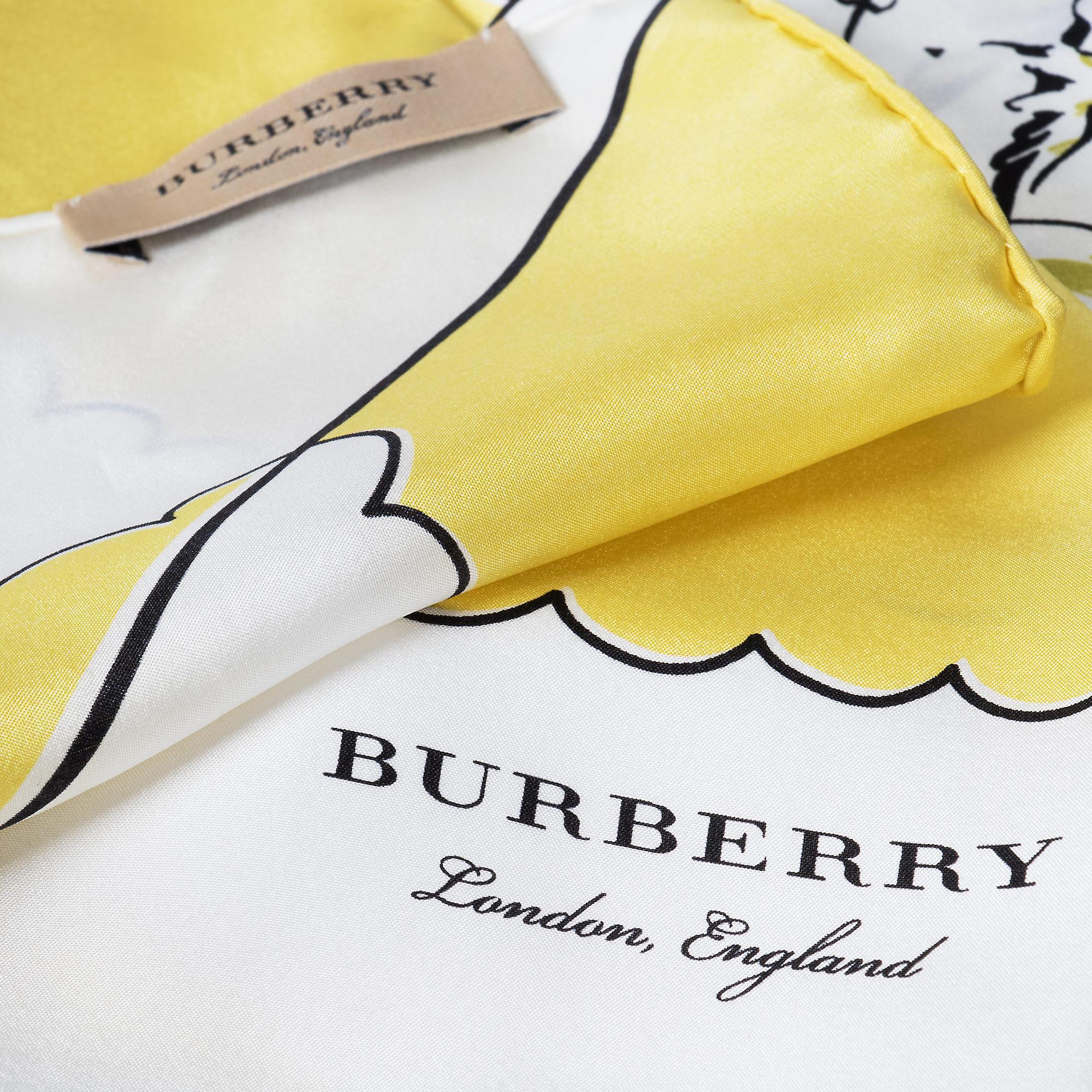 Burberry London Print silke plassen skjerf | Gule