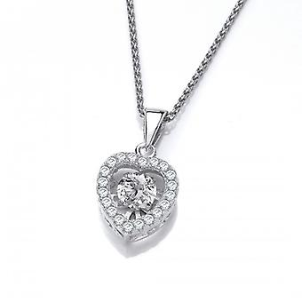 """Cavendish French Silver and Dancing Cubic Zirconia Heart Pendant with 16-18"""" Chain"""