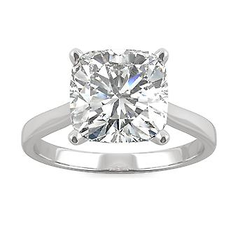 14K White Gold Moissanite by Charles & Colvard 9.0mm Cushion Solitaire Ring, 3.30ct DEW