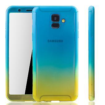 Samsung Galaxy A6 2018 Handy Hülle Schutz-Case Full-Cover Panzer Schutz Glas Blau / Gelb
