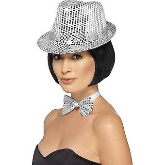 قبعة Trilby الترتر، والفضة