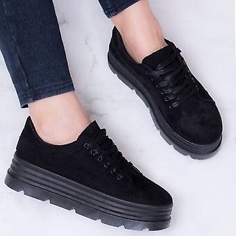 Spylovebuy Magnesia Womens Chunky Sole Hook Lace Up Flat Sneakers Shoes