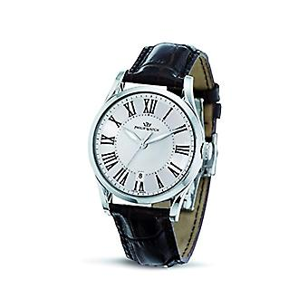 Philip a Woods in the morning light-quartz with analog Display and black leather strap, color: purple, R8251180003