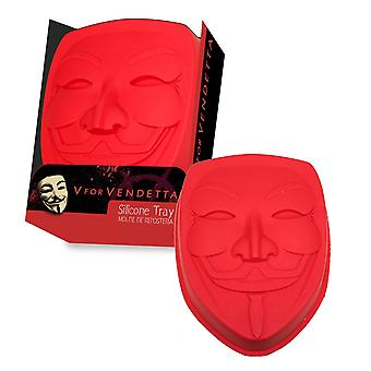 V for Vendetta silicone baking pan of Guy Fawkes mask red, made of silicone.