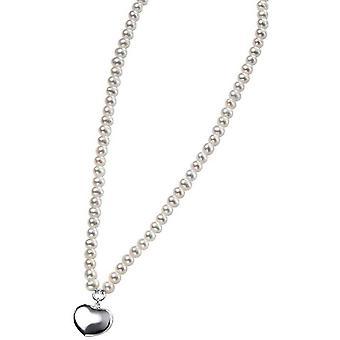 Начало пресноводной жемчужиной и слоеного сердца ожерелье - очистить/серебро