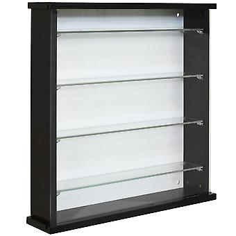 Exhibit - Solid Wood 4 Shelf Glass Wall Display Cabinet - Black
