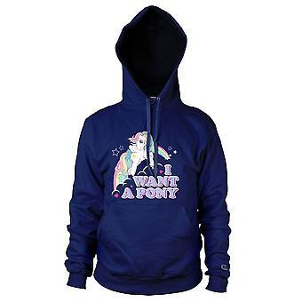 Les femmes de mon petit poney «je veux un poney» Sweat à capuche bleu marine