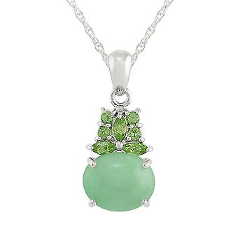 Classic Cabochon Green Jade & Peridot Cluster Pendant Necklace in 925 Sterling Silver 252P010409925