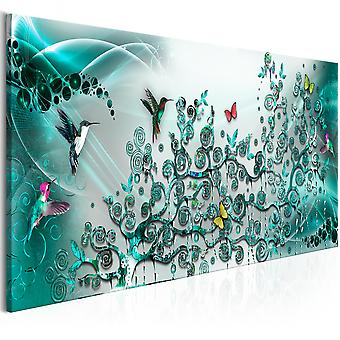 Canvas Print - Hummingbirds Dance (1 Part) Turquoise Narrow