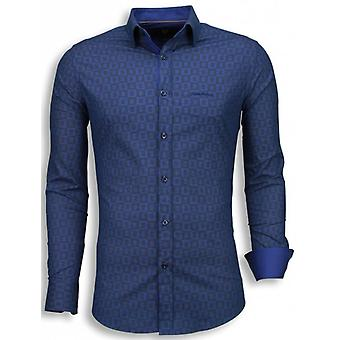 E Shirts - Slim Fit - Scale Pattern - Blue