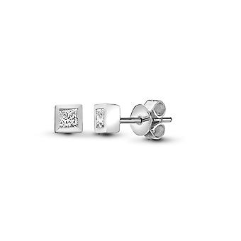 Jewelco London Ladies Solid 18ct White Gold Rub Over Set Princess G VS 0.2ct Diamond Solitaire Stud Earrings