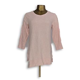 H de Halston Women's Top XXS Scoop Neck French Terry Tunic w/ Pink A305350