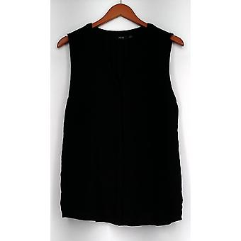 Apt. 9 Top Button Front Tank Top Solid Jet Black New