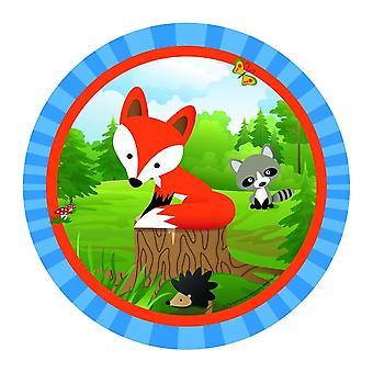 Fox Fox Party Placa 23cm Placa de Papel 8 Piezas Schlauer Fox Party Cumpleaños de los Niños