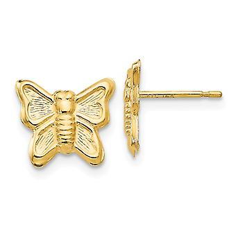 14k Yellow Gold Polished Butterfly Angel Wings Post Earrings Jewelry Gifts for Women - .3 Grams