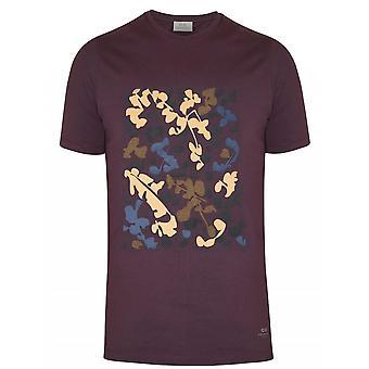 CC Collection Corneliani Burgundy Graphic Crew Neck T-Shirt