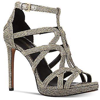 Michael Michael Kors Femmes Sandra Tissu Peep Toe Ankle Strap Classic Pompes