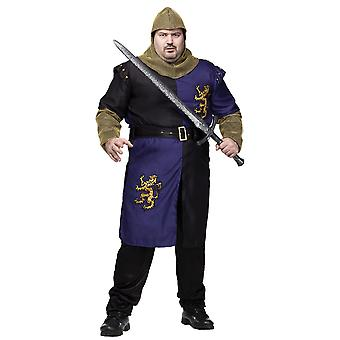 Renaissance Knight Medieval Crusader Lancelot Warrior Adult menns drakt pluss