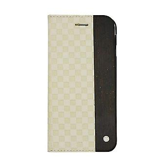 iPhone 6/6s Plus Case - 5.5 Inch Mode Wooden Checker Embossed Creme Folio Hard Shell