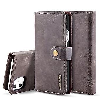 Dg. MING iPhone 11 Split Leather Wallet Case-Coffee