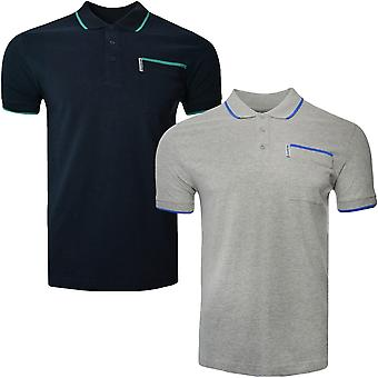 Lambretta Mens Single Tipped Jersey Short Sleeve Casual Cotton Polo Shirt Top