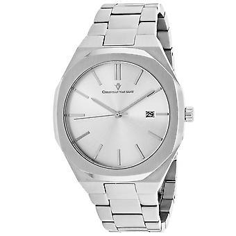 Christian Van Sant Men-apos;s Octavius Slim Silver Dial Watch - CV0521