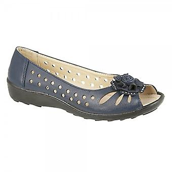 Boulevard Dayna Ladies Faux Leather Flower Peep Toe Flats Navy