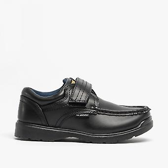 US Brass Marvin Boys Velcro Bar Casual School Shoes Black