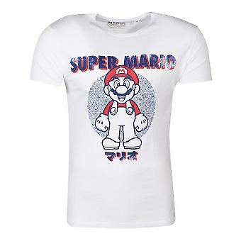 Nintendo Super Mario Bros Anatomy Mario T-Shirt Unisex Medium White