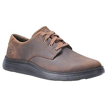 Skechers Mens Status 2.0 Arleno Low Profile Leather Lace Up Shoe