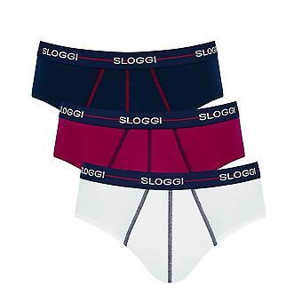 Sloggi Start Midi Brief 3 Pack Red/White/Navy