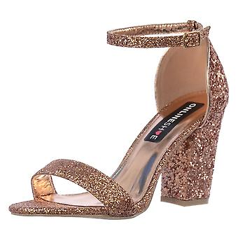 Onlineshoe Glitter Peep Toe High Back Strappy Party Shoes
