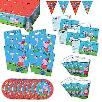 Peppa Wutz Partybox original Kindergeburtstag 34-teilig Deko Peppa Pig Partypaket
