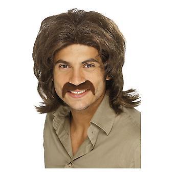 Mens 70s Retro peruk brun maskeraddräkter tillbehör