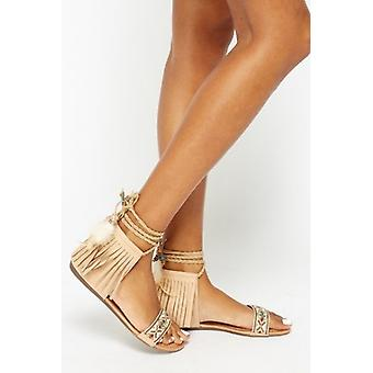 Rodeo Beige Aztec Tassel Sandals